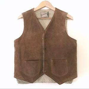 Vintage 1970s • Suede Sherpa Snap Up Vest